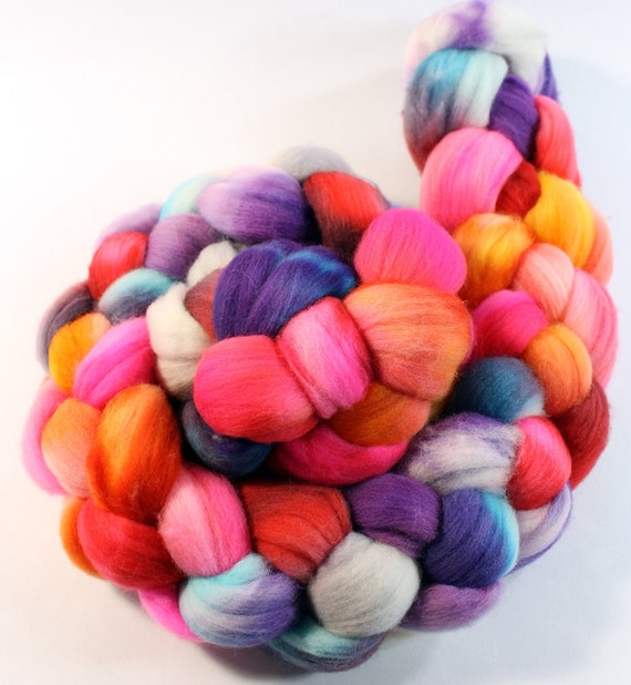 Merino Wool Roving - Hand Painted - Hand Dyed for Spinning or Felting - 4oz - Color Play # 90