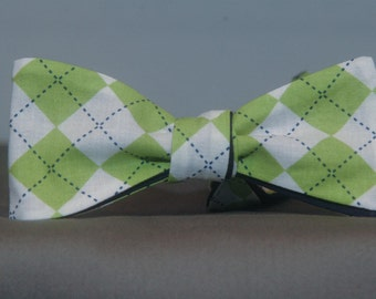 Green, White and Blue accent Argyle  Bow Tie