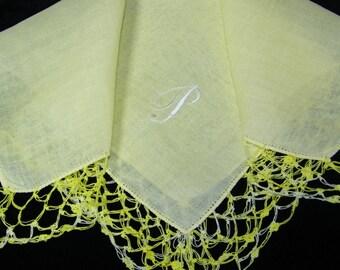 "Vintage White on Yellow Monogrammed Monogram ""P"" Ladies Crochet Lace Trim Brides Wedding Handkerchief, Hankie, Hanky - 9651"