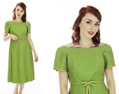 Vintage 60s Dress Green Cocktail Pin-up Retro 1950s Circle Skirt Formal Mad Men 1960s Party Small S Medium M