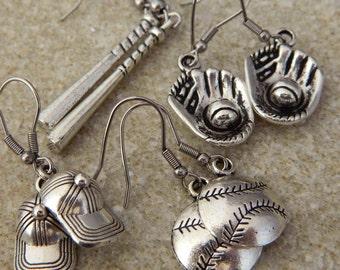 4 Pair Baseball Themed  Dangle Earrings Gift Set