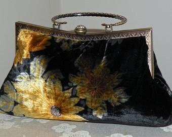 Silk Velvet Clutch/Purse/Bag..Bridal/Wedding/Evening..9inch Fancy Frame..Wrap available.Velvet Devore Floral..Black Brown Gold