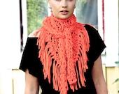 Chunky cotton triangle fringe scarf - Bright Orange