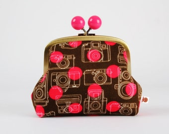 Metal frame clutch bag - Pop cameras - Color bobble purse / japanese fabric / neon pink / brown / retro cameras / photography / autumn hues