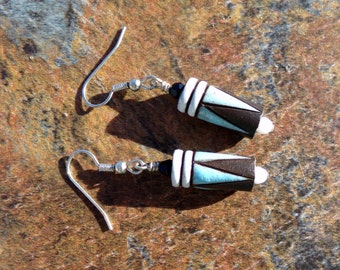 Stone Wear Earrings in Blue and Chocolate Brown. Native American. Tribal Jewelry. PA16