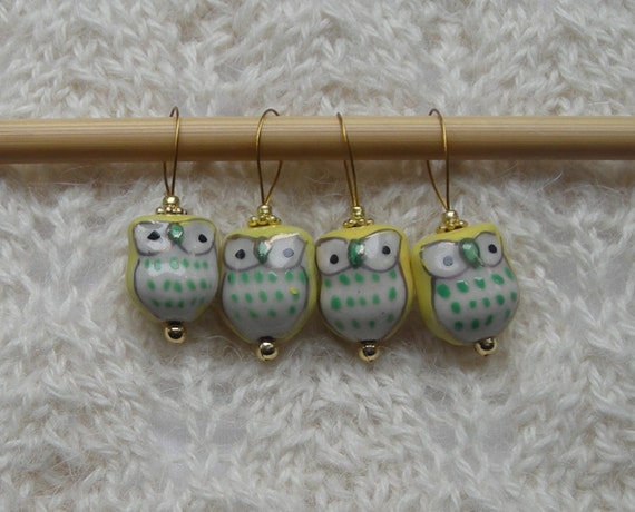 Owl Knitting Stitch Markers - snag free - ceramic owl beads - yellow and green - set of 4 - large loops fit needles up to size US 13 (9mm)