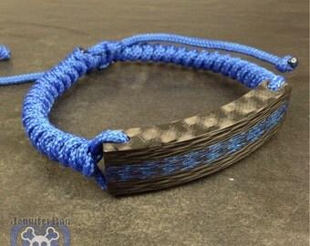 Blue Core with Black Carbon Fiber Snake Adjustable Bracelet