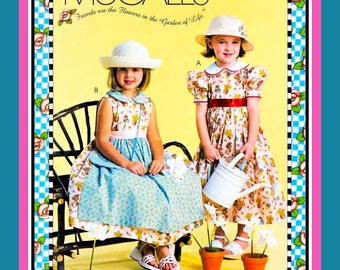 ENGLISH TEA DRESS & Lined Purse-Sewing Pattern-Mary Engelbreit Original-Two Styles-Attached Apron-Peter Pan Collar-Uncut-Size 6-8-Opp-Rare