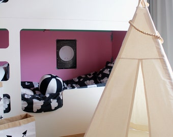 Teepee Tent for kids, Plain cotton indoor play teepee tent, Reg/small size teepee, tipi for kids, canvas play teepee