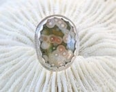 Handcrafted Sterling Silver Orbicular Ocean Jasper Stone Ring size 9