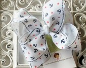 INVENTORY BLOWOUT SALE-----Simple Large 4 Inch Hair Bow----Anchors Away----White----