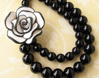 Statement Necklace Flower Necklace Black Jewelry Bib Necklace Beaded Necklace Multi Strand Gift For Her