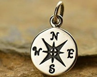 Compass Charm, 925 Sterling Silver Pendant, 15x10mm,