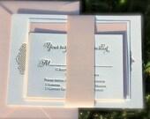Letterpress Wedding Invitations Blush Pink and Taupe DEPOSIT, blush and taupe invitations, wedding invitations, belly band invitation