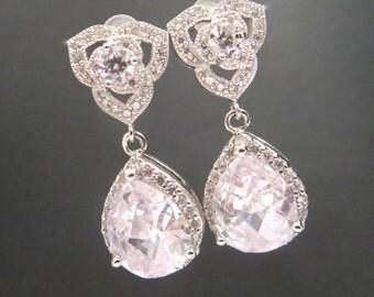 Crystal Bridal earrings, Wedding earrings, Bridal jewelry, Crystal stud earrings, Bridesmaid earrings, cubic zirconia earrings, Flower girl