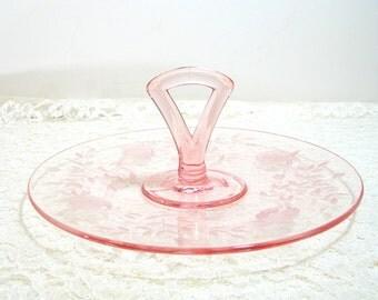 Pink Depression Glass Handled Serving Platter