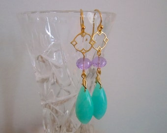 Wildflower Earrings -- Peruvian Blue Amazonite and Lilac Quartz