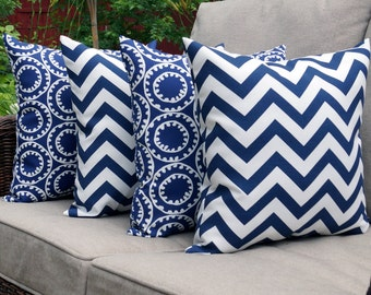 Navy Outdoor Pillow - Ring a Bell Navy and Zig Zag Chevron Navy Outdoor Throw Pillows - Set of 4 - Free Shipping