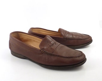 Leather Gravati Loafers Vintage 1980s Brown Shoes Dress Men's size 10 M