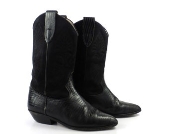 Black Cowboy Boots Vintage 1980s Faux Lizard Suede and Leather Women's size 7 1/2