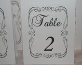 Wedding Table Numbers, Elegant Wedding Table Numbers, Your Choice Tented or Flat,  White or Ivory