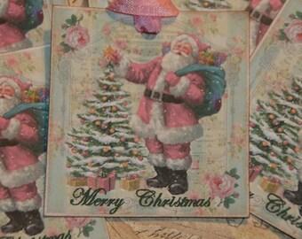 Santa Tags,  Pink Santa Christmas Tags, Merry Christmas Gift Tags, Holiday Tags