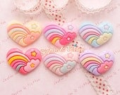 Rainbow Star Heart Kawaii Cabochon / Decoden Pieces / Resin Cabochons - 6pcs