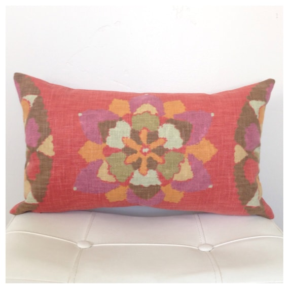 Southwestern Lumbar Pillow : RED Lumbar PILLOW COVER 12 x 20 inch Decorative Pillow