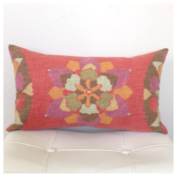 RED Lumbar PILLOW COVER 12 x 20 inch Decorative Pillow