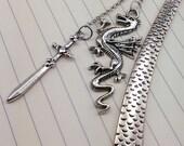 Dragon and Sword Metal Fantasy Hook Bookmark