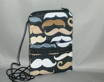 Sling Bag Purse - Passport Purse - Wallet on a String - Mustache - Moustache
