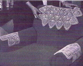 Vintage Crochet Pattern 7670 Chair set Pineapple Fountain Spray  Instant PDF download 1950s