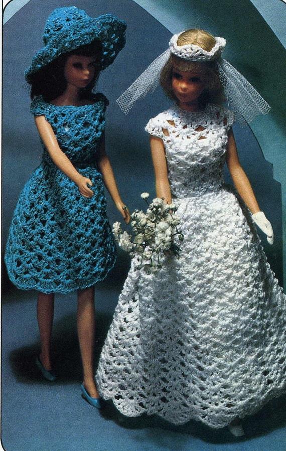 Vintage Knit Crochet PATTERNS for Barbie Ken Wedding Gown
