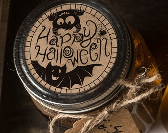 Instant download Halloween mason jar lid label print at home bat monster candy jar gift