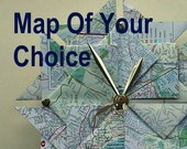 Customized Origami Map Wall Clock - Map Of Your Choice - Large