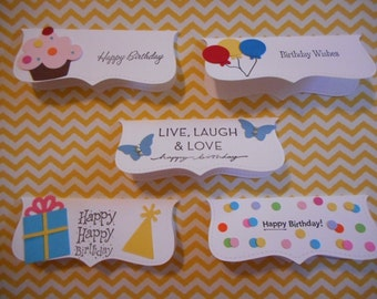 treat bags and toppers set of 20- 4 of each design with baggies Happy Birthday