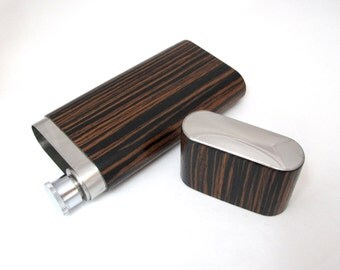 Exotic Wood Ebony Cigar Case and Flask Combo