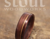 Size 13.75 - Indian Rosewood With Offset Golden Koa Inlay Bentwood Ring - Handcrafted Wooden Ring