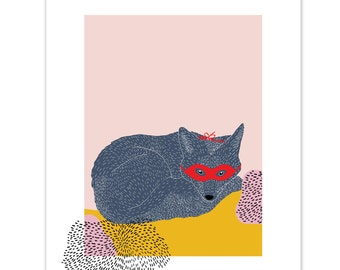 Big Fox Print // Colourful Print // Kids Print // Nursery Print