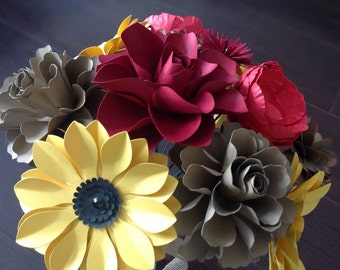 Paper flower set of 12 stems in red yellow and brown mix of different flowers READY to SHIP