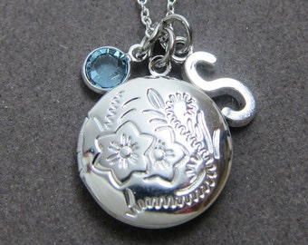Small Round Locket Necklace - Photo Locket Keepsake, Personalized Initial Name, Customized Swarovski crystal birthstone