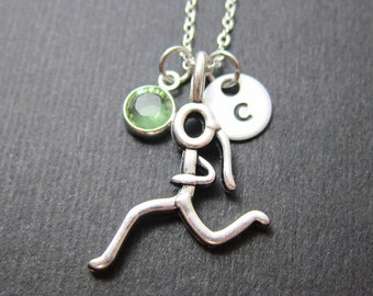 Runner Necklace - Girl running stick figure, Personalized Initial Name, Customized birthstone
