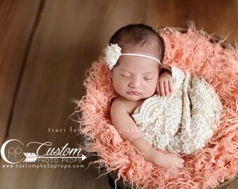 RTS Newborn Photo Props 40 Colors, Vegan Flokati Newborn Layers, LaYer PeaCH Sheep Faux Flokati Fur Newborn Baby Photography Props, Orange