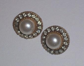 Vintage Pierced Faux Pearl Earrings with Rhinestone