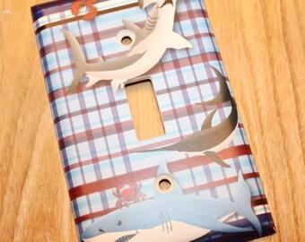 Sharks Boys Kids Bedroom Baby Nursery Single Light Switch Cover LS0071