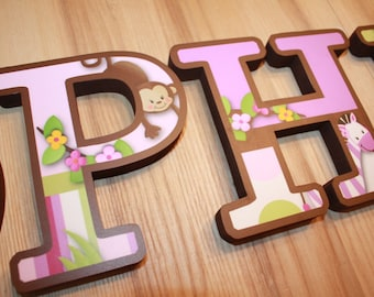 WOODEN WALL LETTERS Plum Jungle Girls Bedroom Baby Nursery Wall Name - Price Per Letter