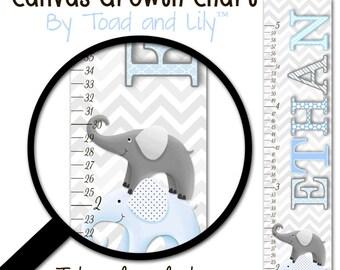 Canvas GROWTH CHART Blue and Grey Chevron Elephant Girls Kids Bedroom Baby Nursery Wall Art GC0232