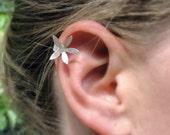 Sterling Silver Flower Ear Cuff.