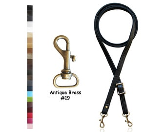 """SALE! 55"""" (inch) Adjustable Skinny Leather Cross Body Purse Strap - .50 inch Wide - Your Choice of Leather and #19 Antique Brass Hook"""