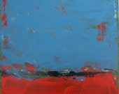 Blue Red Painting, Abstract Original Art, 24 x 24 inches